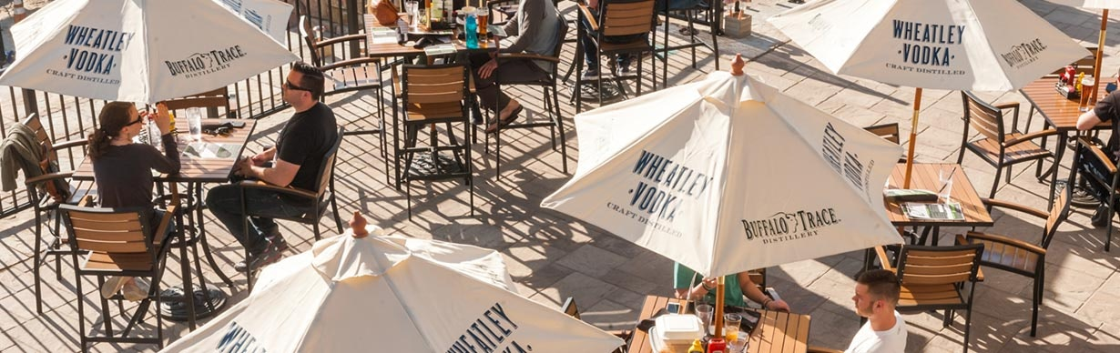 Eating patio with tables and umbrellas