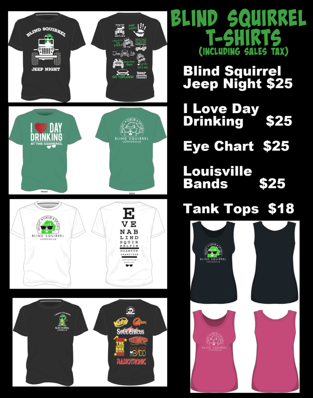 T-Shirts pricing list